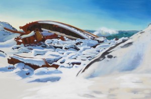 Shipwreck and Snow in a Northwest Gale. Oil, 24 x 36.