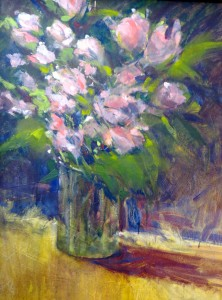 "Pink Roses 30"" x 24"", Oil, $4400."