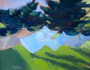 "Spring Green. 8"" x 10"", Oil, $900."