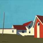 Monhegan Lighthouse with Oil Shed. 12 x 12 inches, Limited Edition Giclee Print. Framed $300. Unframed $150