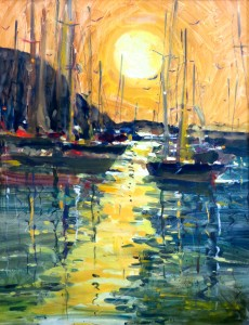 "Sunlit Harbor. 30"" x 24"", Oil, $4400."
