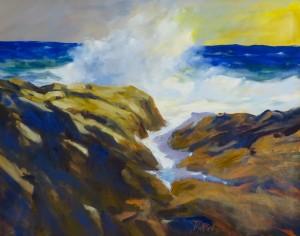 """Wild Surf. 24"""" x 30"""", Oil, $4400."""