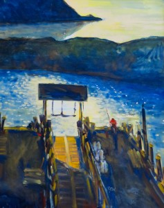 "The Dock. 30"" x 24"", Oil, $4400."